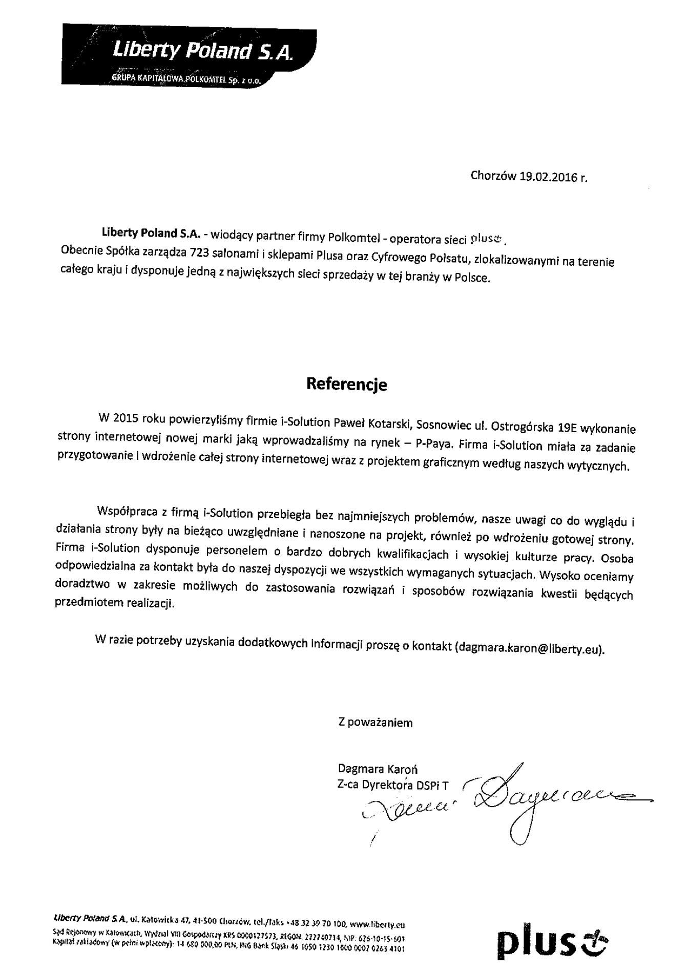 Referencje od firmy Liberty Poland S.A.